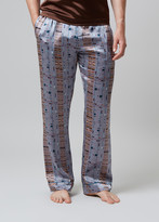 Meng MENG Men S Silver Printed Silk Satin Pajama Bottoms