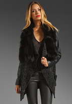 RVN Jacquard Knit Coat with Leather Sleeve & Fur Collar in Platinum/Black