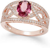 Macy's Rhodolite Garnet (1-3/8 ct. t.w.) and Diamond (3/8 ct. t.w.) Openwork Ring in 14k Rose Gold