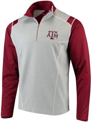 Antigua Men's Heathered Gray/Maroon Texas A&M Aggies Automatic Quarter-Zip Pullover