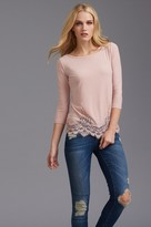 Dynamite 3/4 Sleeve Top With Lace Hem