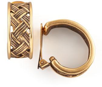 Oscar de la Renta Basketweave Clip Earrings