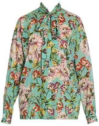 Dolce & Gabbana Georgette Floral-Print Tieneck Blouse