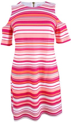 Calvin Klein Women's Plus Size Round Neck Sleeveless Cold Shoulder Stripe Dress