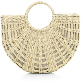 Poolside The Bec Half-Moon Top Handle Straw Tote