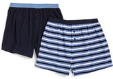 David Jones 2 Pack Knit Contrast Waistband Plain & Stripe Boxers