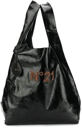 No.21 Crinkled leather shopper