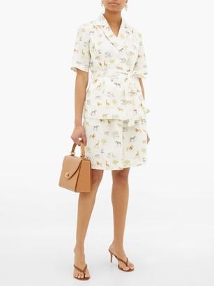 Emilia Wickstead Reggie High-rise Animal-print Linen Shorts - Womens - Cream Print