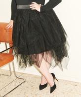 Melissa McCarthy Black Tulle Midi Skirt - Plus