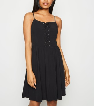 New Look Petite Lace Up Skater Dress