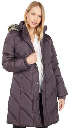 London Fog Chevron Quilted Long Puffer Coat w/ Faux Fur Trim (Northern Sky) Women's Coat
