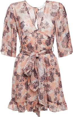 IRO Cutout Ruffled Floral-print Georgette Playsuit
