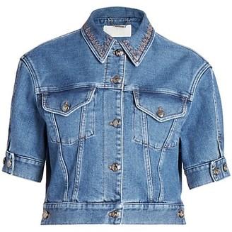 Chloé Recycled Stretch Denim Cropped Jacket