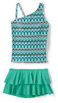 Classic Little Girls Tankini Swimsuit Set-Deep Sea Chevron