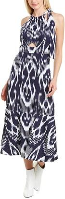 Rebecca Taylor Ikat Linen-Blend Midi Dress