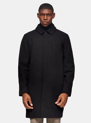 Topman Blck Classic Fit Overcoat