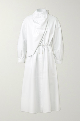 Dodo Bar Or Sitter Draped Leather Midi Dress - White