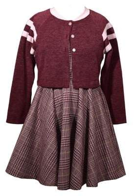 Iris & Ivy Little Girl's 2-Piece Baseball Jacket & Glen Plaid Skater Dress Set