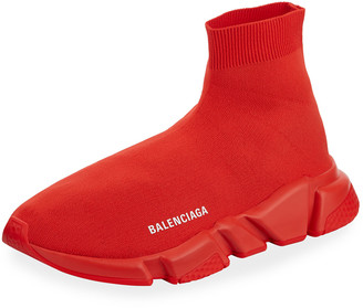 Balenciaga Men's Logo Speed Sneakers with Tonal Rubber Sole