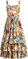 Dolce & Gabbana Floral-print tiered-ruffle midi dress