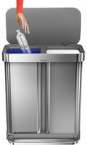 Williams-Sonoma Williams Sonoma simplehumanTM; 58-L. Dual Compartment Rectangular Step Can, Brushed Stainless-Steel