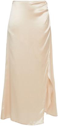 Reformation Wrap-effect Silk-satin Midi Skirt