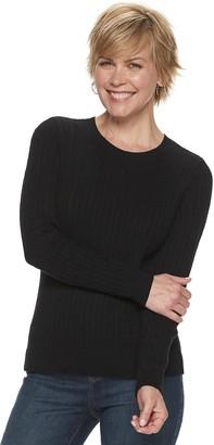 Croft & Barrow Women's Essential Cable-Knit Crewneck Sweater