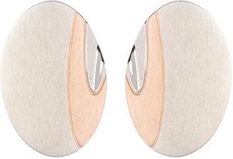 Breuning Sterling Silver Two Tone Oval Stud Earrings