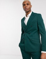Lockstock Mayfair double breasted suit jacket in forest green