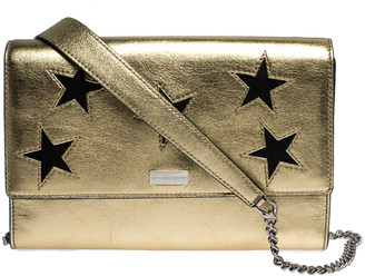 Stella McCartney Metallic Gold Faux Leather Star Flap Shoulder Bag