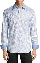 Bugatchi Tonal-Print Sport Shirt, Sky