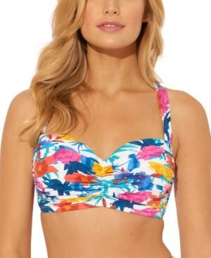 BLEU by Rod Beattie Printed Underwire D/Dd-Cup Bikini Top Women's Swimsuit