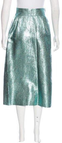 Vika Gazinskaya Silk-Blend Metallic Skirt