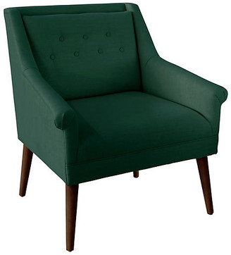 One Kings Lane Bella Tufted Accent Chair - Forest Linen