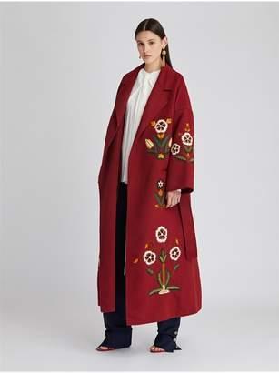 Oscar de la Renta Embroidered Double Face Wool-Cashmere Coat