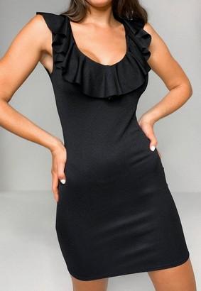 Missguided Ruffle Plunge Neck Mini Dress