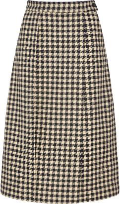 Victoria Beckham Pleated Gingham Tweed Pencil Skirt