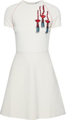 Valentino Flared Embellished Knitted Mini Dress