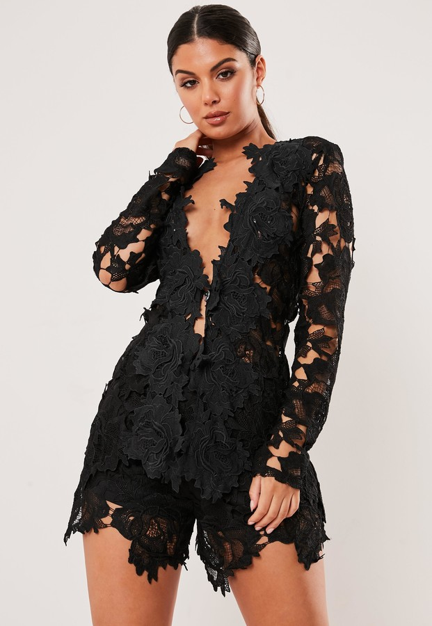 Missguided Black Co Ord Crochet Lace Shorts