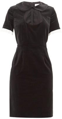 Comme des Garcons Ruffle-trim Cotton-velvet Dress - Womens - Black