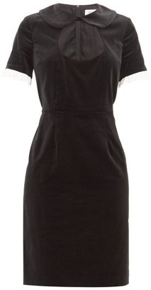 COMME DES GARÇONS GIRL Ruffle-trim Cotton-velvet Dress - Black