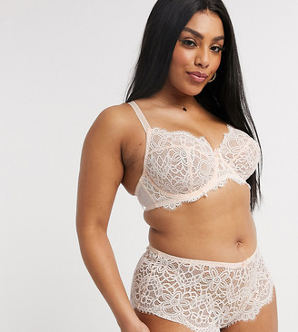 Simply Be jade full cup lace wired bra in blush