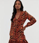 Asos Tall DESIGN Tall button through skater mini dress with pep hem in tiger print
