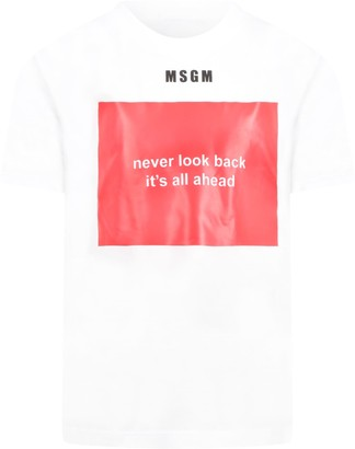 MSGM White T-shirt For Kids With Logo