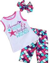 Aliven Toddler Girls Mermaid Tank Tops + Cropped Pants + Bow Headband Outfits Clothes