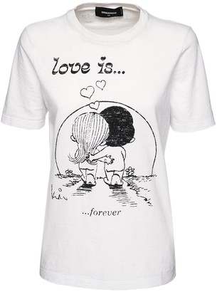 DSQUARED2 Renny Fit Love Is Flocked Jersey T-Shirt
