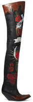 Vetements Painted Leather Over-the-knee Boots - Black