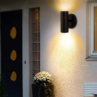 Ebern Designs Adreinne Black 6 7 H Integrated Led Outdoor Armed Sconce Shopstyle