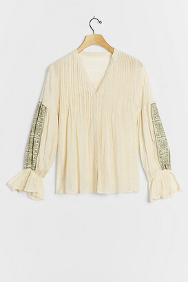 Gracelynn Pleated Peasant Blouse By Twelve Twelve in White Size XS