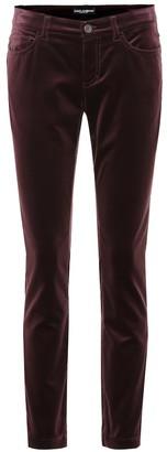 Dolce & Gabbana Velvet cropped skinny jeans